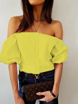 Γυναικεία έξωμη μπλούζα 35822 κίτρινη