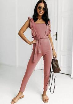 Γυναικεία κομψή ολόσωμη φόρμα 5745 ροζ