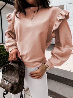 Дамска блуза с обемни ръкави 24155 пудра