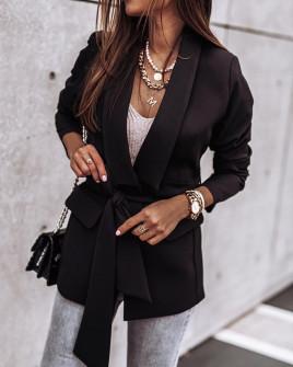 Γυναικείο σακάκι με φόδρα και ζώνη 5339 μαύρο