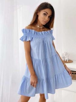 Γυναικείο έξωμο φόρεμα 2441 γαλάζιο