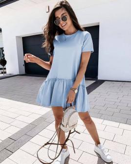 Γυναικείο κοντό χαλαρό φόρεμα 8212 γαλάζιο