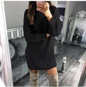 Γυναικείο πλεκτό μπλουζοφόρεμα 1778 μαύρο