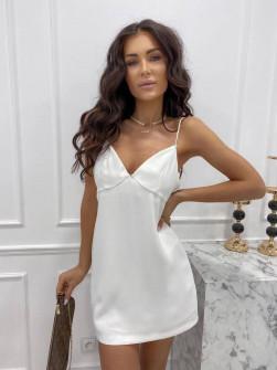 Γυναικείο κοντό φόρεμα 3605 άσπρο