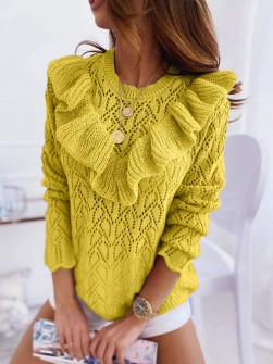 Γυναικείο πουλόβερ με εντυπωσιακό ντεκολτέ 7801 κίτρινο