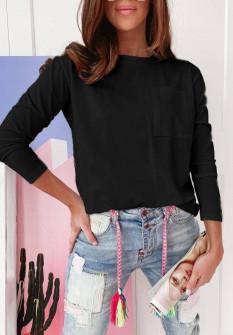 Γυναικεία απλή μπλούζα 51037 μαύρη