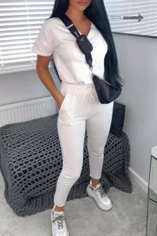 Γυναικείο σετ κοντομάνικο και παντελόνι 3683 άσπρο