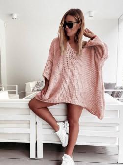 Γυναικείο πλεκτό μπλουζοφόρεμα 00851 ροζ