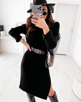 Γυναικείο πλεκτό φόρεμα 72301 μαύρο