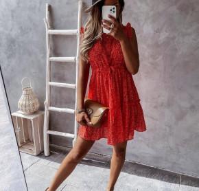 Γυναικείο φόρεμα φλοράλ 21320 κόκκινο