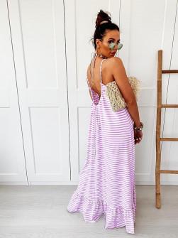 Γυναικείο εξώπλατο φόρεμα ριγέ 5123 λιλά