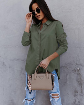 Γυναικείο βαμβακερό πουκάμισο 5551 σκούρο πράσινο