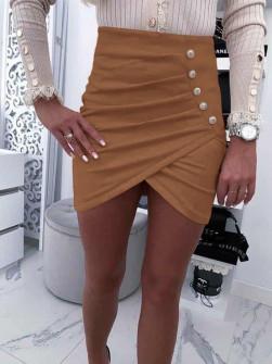 Γυναικεία σουέτ φούστα 5327 καμηλό
