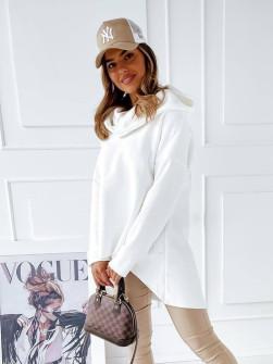 Γυναικείο μπλουζοφόρεμα με μεγάλο γιακά 13664 άσπρο