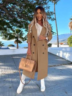 Γυναικείο μακρύ παλτό με φόδρα 5893 καμηλό
