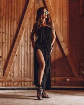 Γυναικείο μακρύ φόρεμα με σκίσιμο 8189 μαύρο