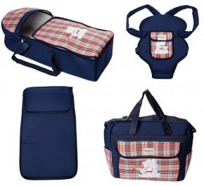 Σετ πορτ μπεμπέ, τσάντα, μάρσιπος και στρώμα 04113 σκούρο μπλε/κόκκινο