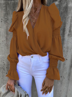 Γυναικεία μπλούζα με εντυπωσιακό μανίκι 8553 καφέ