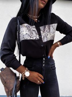 Γυναικείο πουκάμισο με print φιδιού 2644 μαύρο