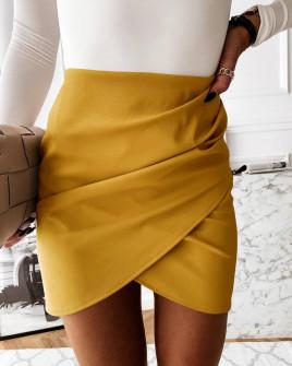 Γυναικεία φούστα δερματίνης 5936 μουσταρδί