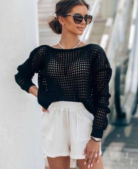Γυναικεία πλεκτή μπλούζα 4708 μαύρη