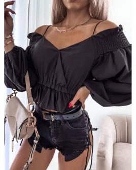 Γυναικεία εντυπωσιακή μπλούζα 8238 μαύρη