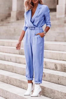 Γυναικεία ολόσωμη φόρμα με ζώνη 5507 γαλάζια