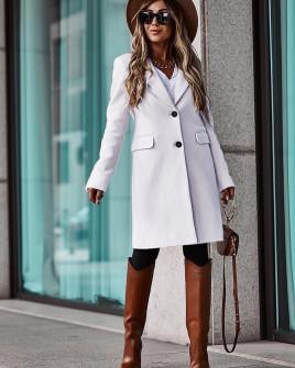 Γυναικείο κομψό παλτό με φόδρα 5355 άσπρο