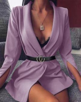 Γυναικείο σακάκι με σκίσιμο στο μανίκι 3994 λιλά