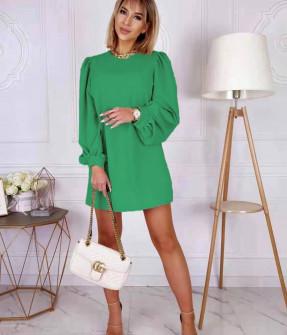 Γυναικείο φόρεμα με φουσκωτό μανίκι 8063 πράσινο