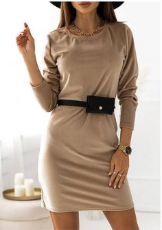 Γυναικείο εντυπωσιακό φόρεμα με ζώνη τύπου τσάντα 21408 μπεζ
