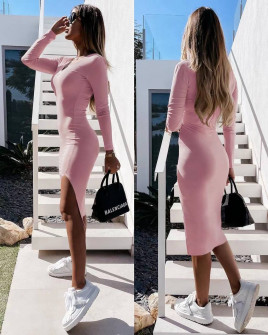 Γυναικείο εφαρμοστό φόρεμα 5578 ροζ
