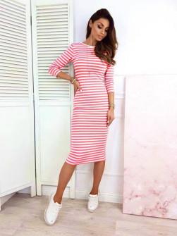 Γυναικείο φόρεμα ριγέ 3530 κόκκινο