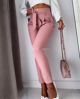 Γυναικείο ψηλόμεσο παντελόνι 933 ροζ