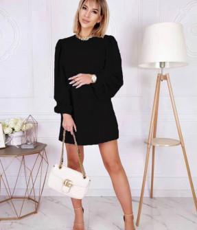 Γυναικείο φόρεμα με φουσκωτό μανίκι 8063 μαύρο