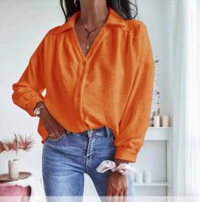 Γυναικείο μονόχρωμο πουκάμισο 5932 πορτοκαλί