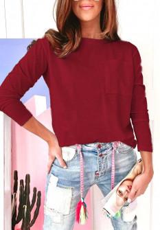 Γυναικεία απλή μπλούζα 51037 μπορντό