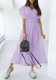Γυναικείο μακρύ φόρεμα 21815 μωβ