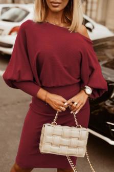 Γυναικείο φόρεμα με έναν ώμο 3675 μπορντό