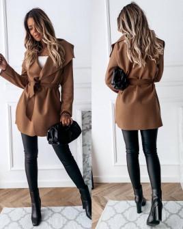 Γυναικείο παλτό με ζώνη 5290 καμηλό