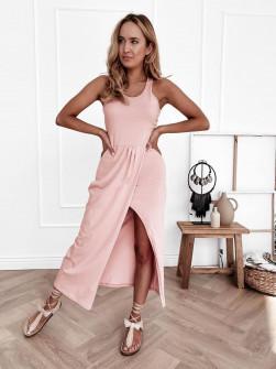 Γυναικείο φόρεμα με σκίσιμο 8215 ροζ