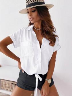 Γυναικείο πουκάμισο με δέσιμο 5606 άσπρο