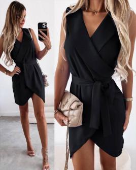 Γυναικείο φόρεμα κρουαζέ 5860 μαύρο