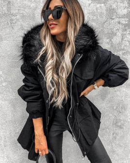 Γυναικείο χοντρό μπουφάν με χνουδωτή κουκούλα PF01 μαύρο