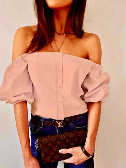 Γυναικεία έξωμη μπλούζα 35822 ροζ