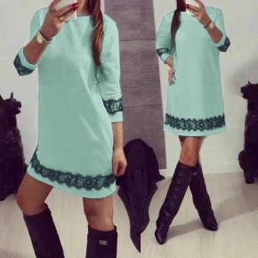 Γυναικείο φόρεμα με δαντέλα 383101 μέντα
