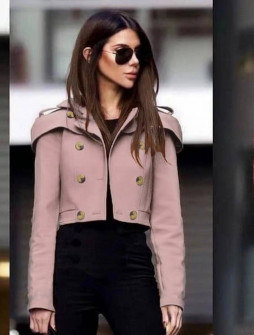 Γυναικείο κοντό παλτό 21633 ροζ