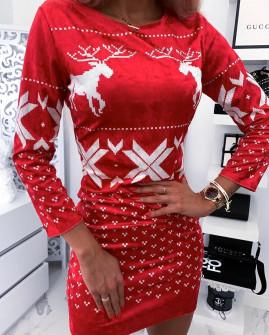 Γυναικείο χριστουγεννιάτικο φόρεμα βελουτέ 9687 κόκκινο