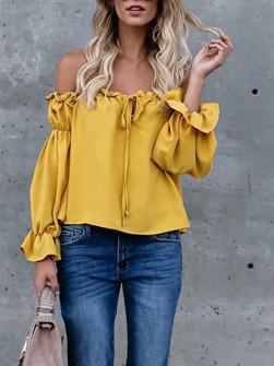 Дамска блуза с ластично деколте 3168 жълта