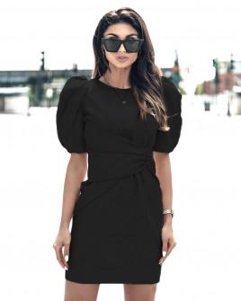 Γυναικείο φόρεμα με φουσκωτό μανίκι 21925 μαύρο